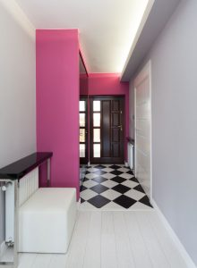 pink hallway bright colours
